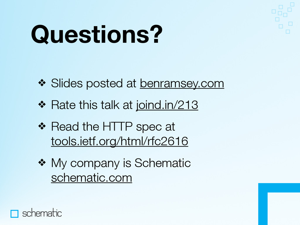 Questions? ❖ Slides posted at benramsey.com ❖ R...