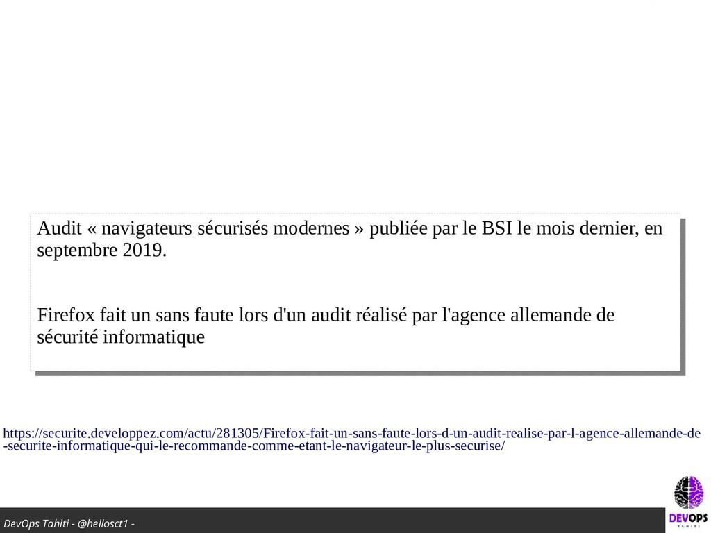 DevOps Tahiti - @hellosct1 - Audit « navigateur...