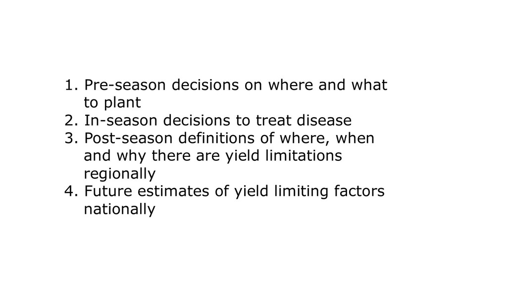 1. Pre-season decisions on where and what to pl...