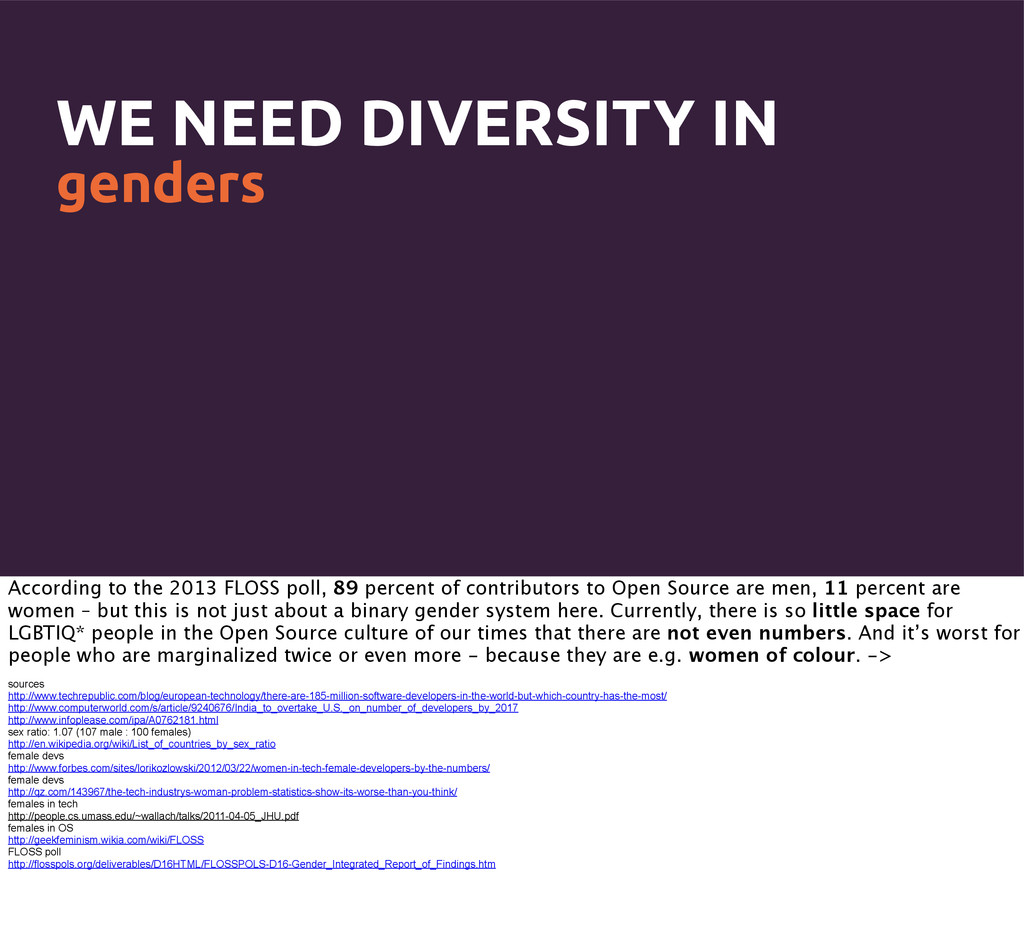 WE NEED DIVERSITY IN genders According to the 2...