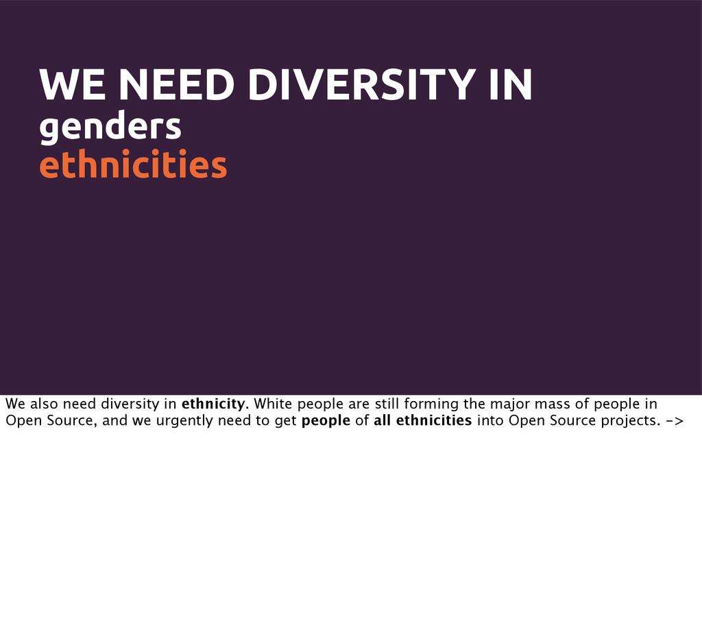 WE NEED DIVERSITY IN genders ethnicities We als...