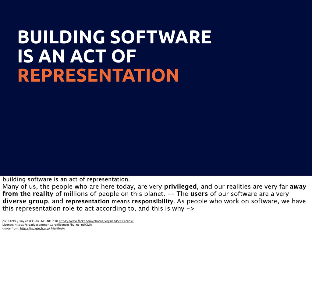 BUILDING SOFTWARE IS AN ACT OF REPRESENTATION b...