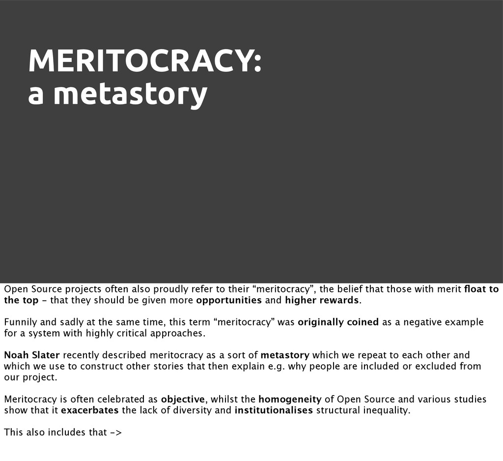 MERITOCRACY: a metastory Open Source projects o...