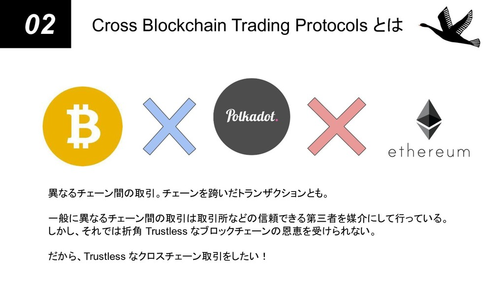 02 Cross Blockchain Trading Protocols とは 異なるチェー...