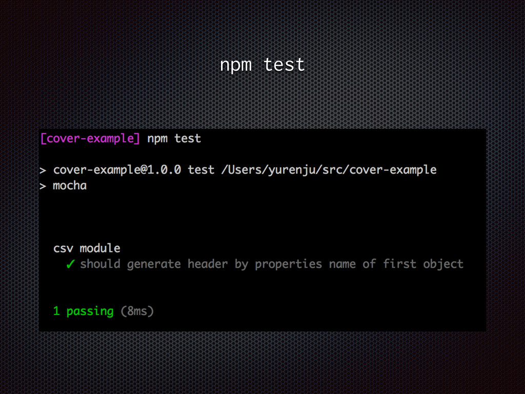 npm test