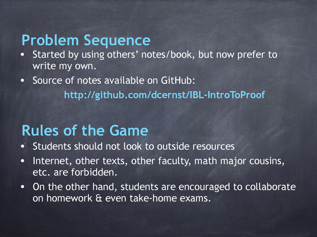 Problem Sequence • Started by using others' not...