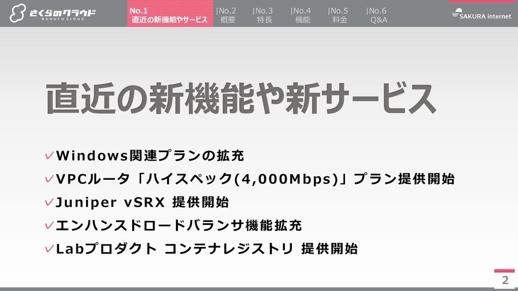2 ✓Windows関連プランの拡充 ✓VPCルータ「ハイスペック(4,000Mbps)」プラ...