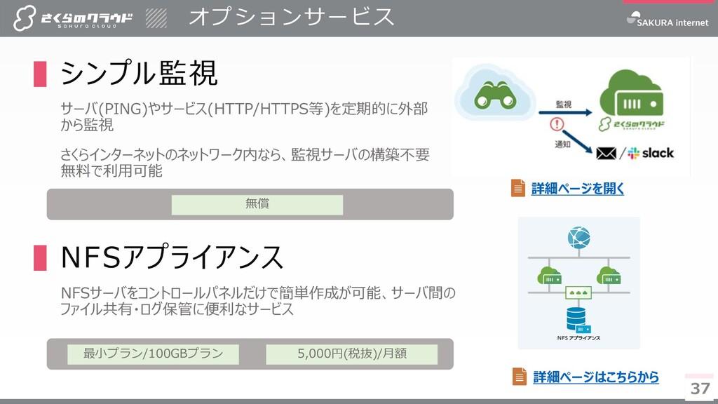 37 オプションサービス 37 ▌シンプル監視 サーバ(PING)やサービス(HTTP/HTT...