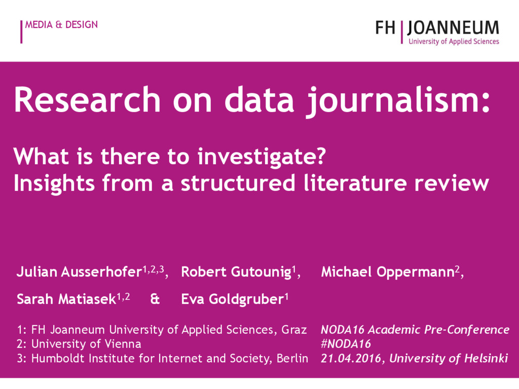 MEDIA & DESIGN Research on data journalism: Wha...