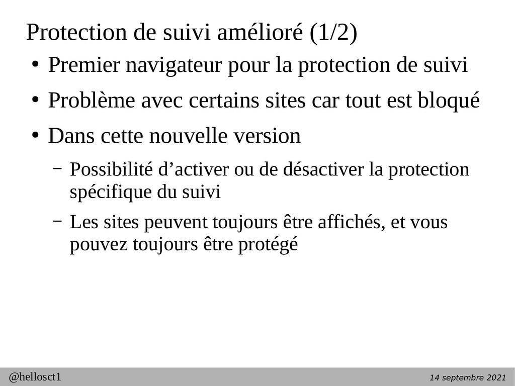 14 septembre 2021 @hellosct1 Protection de suiv...