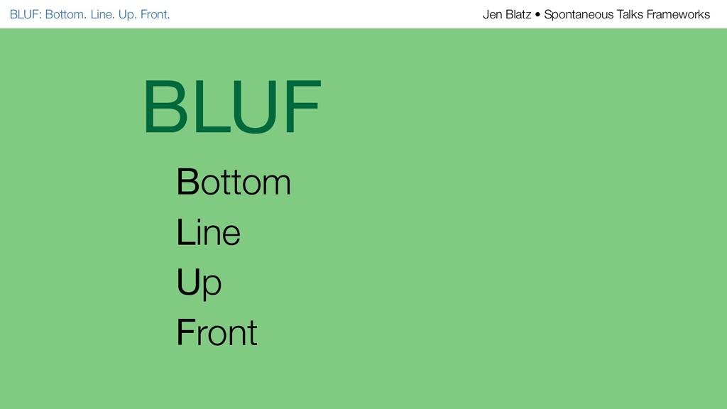 BLUF Bottom Line Up Front BLUF: Bottom. Line. U...