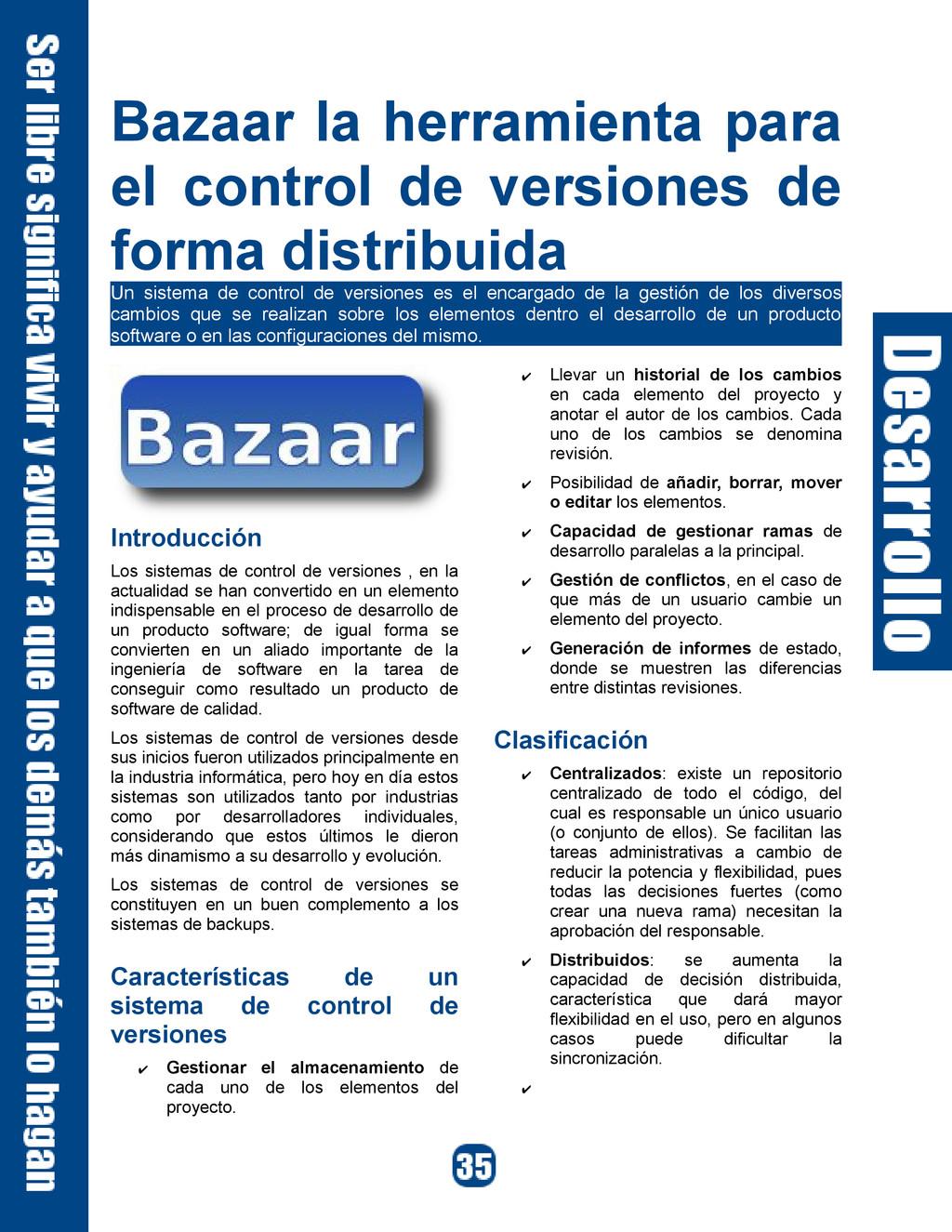 Bazaar la herramienta para el control de versio...