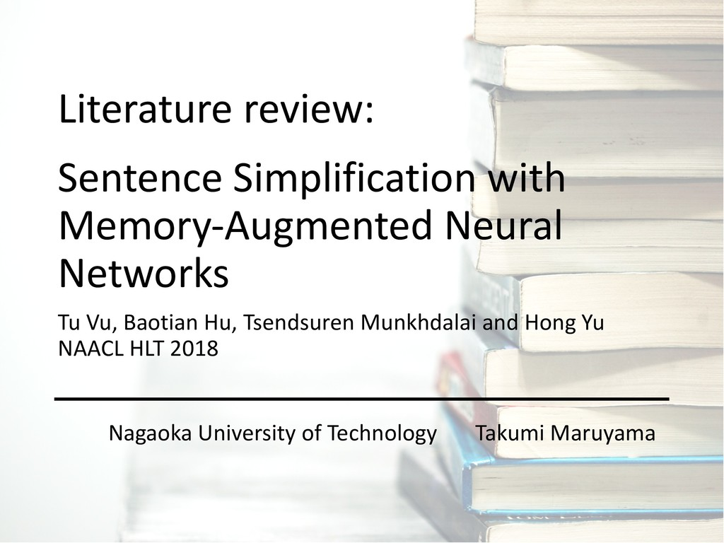 Sentence Simplification with Memory-Augmented N...
