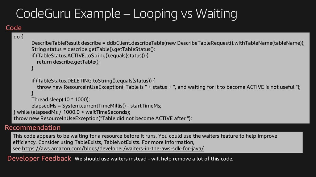 CodeGuru Example – Looping vs Waiting do { Desc...