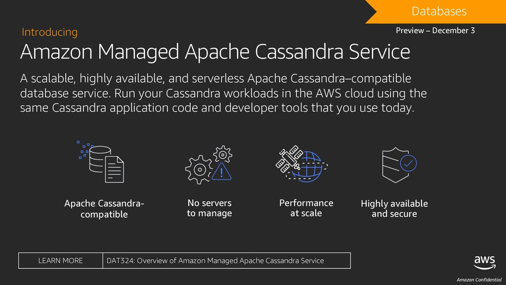 Amazon Confidential Amazon Managed Apache Cassa...