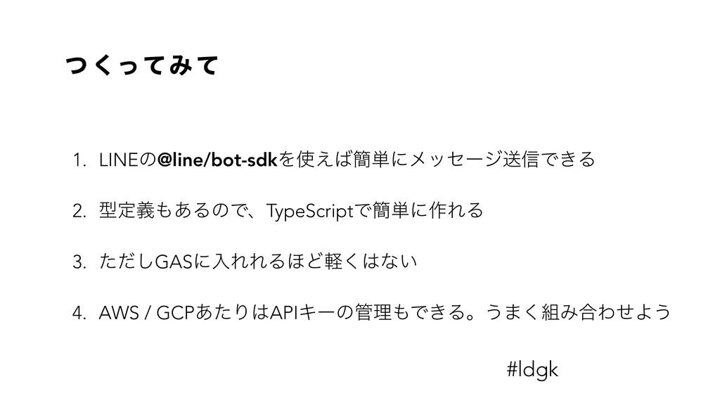 ͭ ͬͯ͘Έ ͯ 1. LINEͷ@line/bot-sdkΛ͑؆୯ʹϝοηʔδૹ৴Ͱ͖Δ...