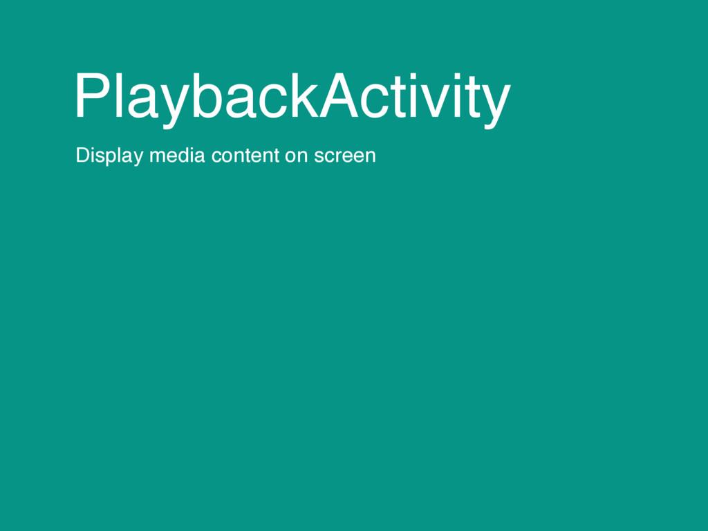 PlaybackActivity Display media content on screen