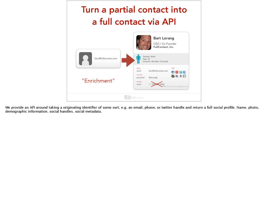 Turn a partial contact into a full contact via ...