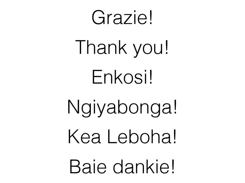Grazie! Thank you! Enkosi! Ngiyabonga! Baie dan...