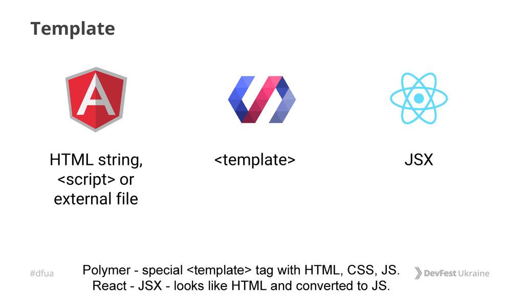 #dfua Template <template> HTML string, <script>...