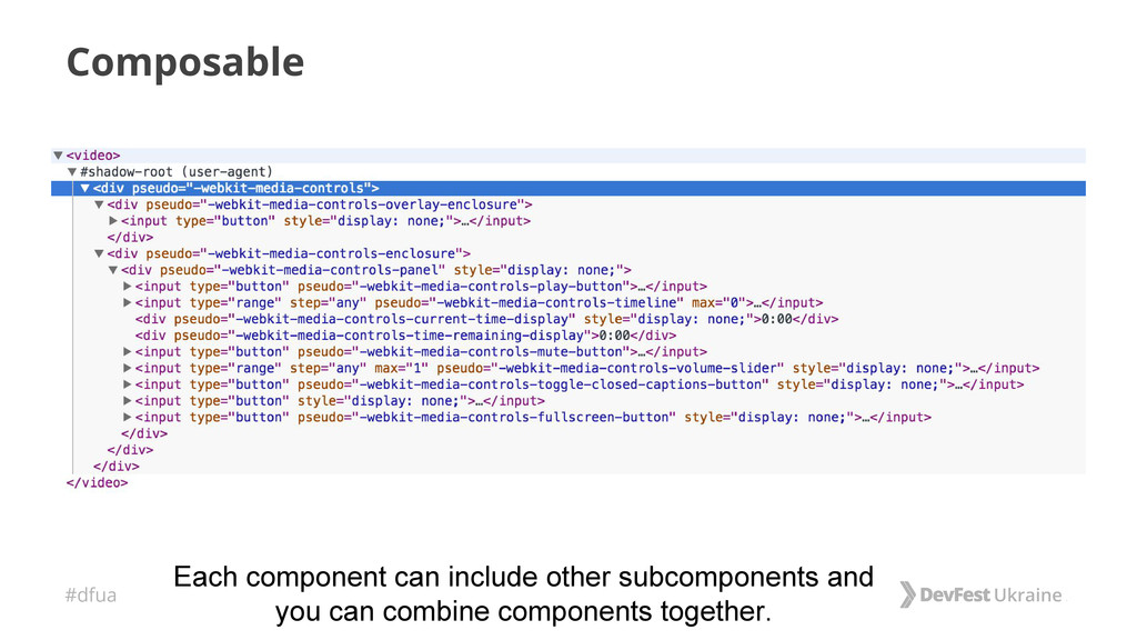 #dfua Composable Each component can include oth...