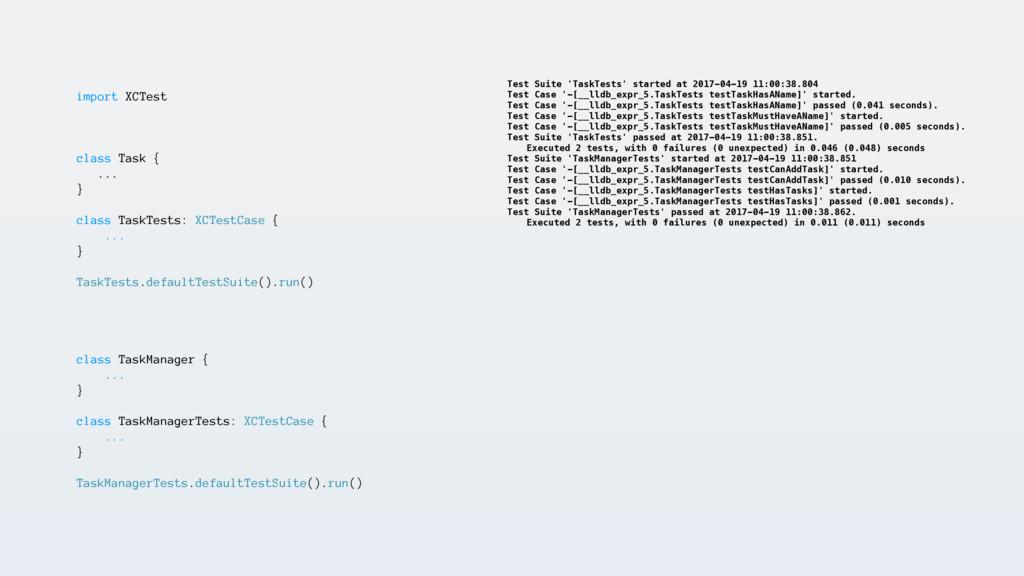 import XCTest class Task { ... } class TaskTest...