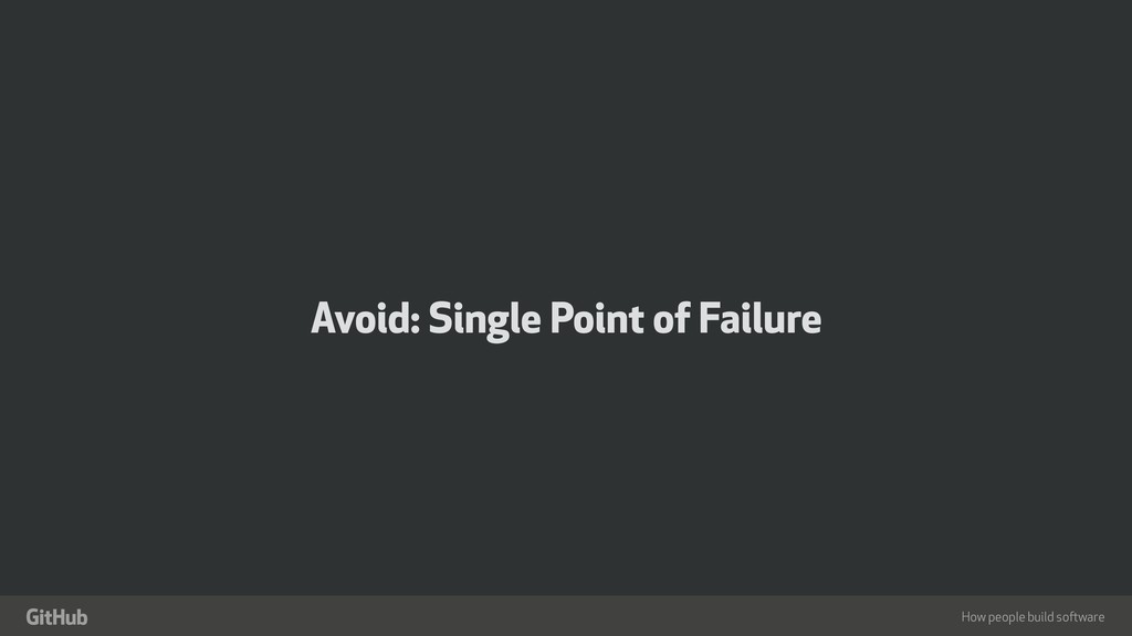 "How people build software "" Avoid: Single Point..."