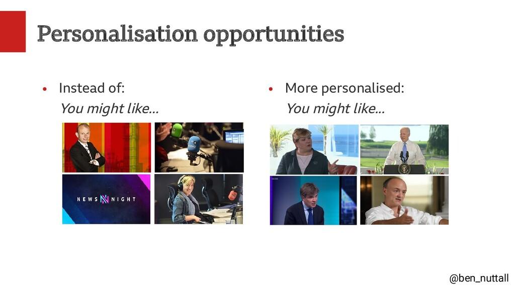 @ben_nuttall Personalisation opportunities ● In...