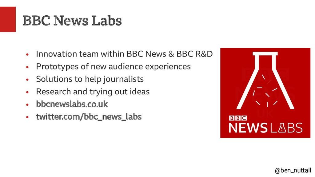 @ben_nuttall BBC News Labs ● Innovation team wi...