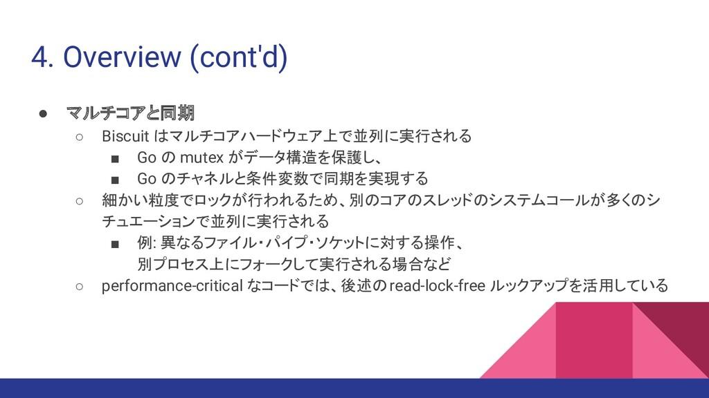 4. Overview (cont'd) ● マルチコアと同期 ○ Biscuit はマルチコ...