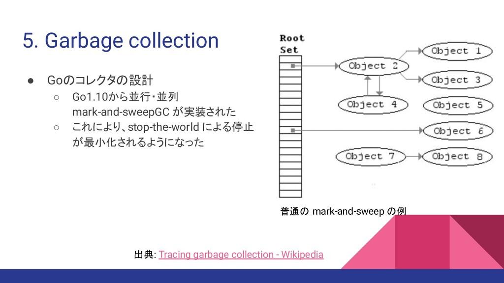 5. Garbage collection ● Goのコレクタの設計 ○ Go1.10から並行...