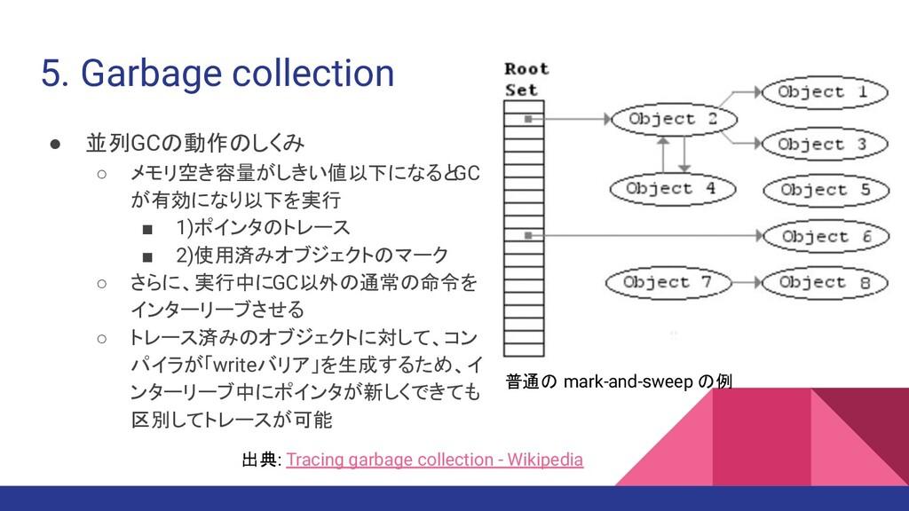 5. Garbage collection ● 並列GCの動作のしくみ ○ メモリ空き容量がし...