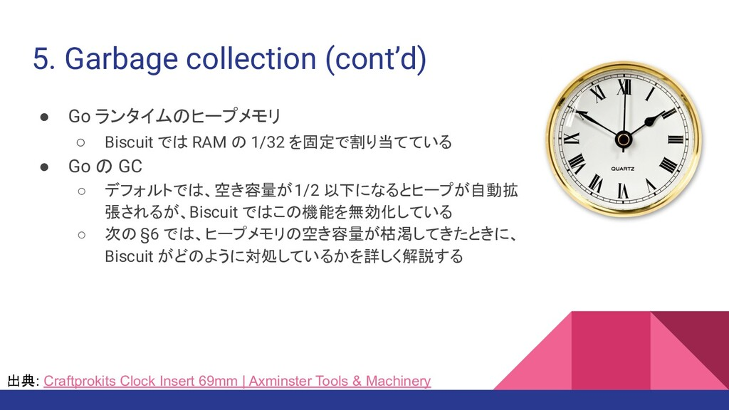 5. Garbage collection (cont'd) ● Go ランタイムのヒープメモ...