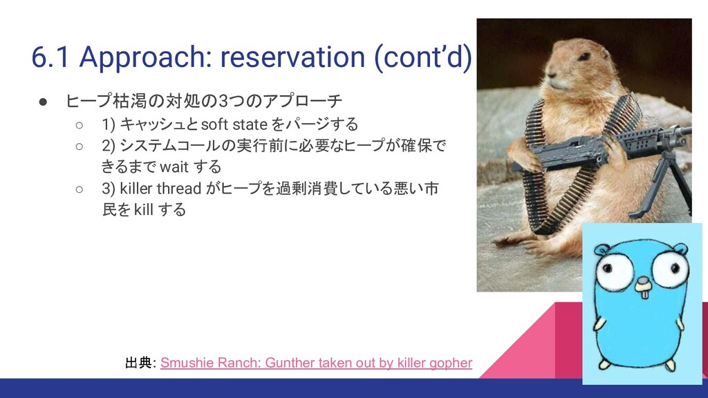 6.1 Approach: reservation (cont'd) ● ヒープ枯渇の対処の3...