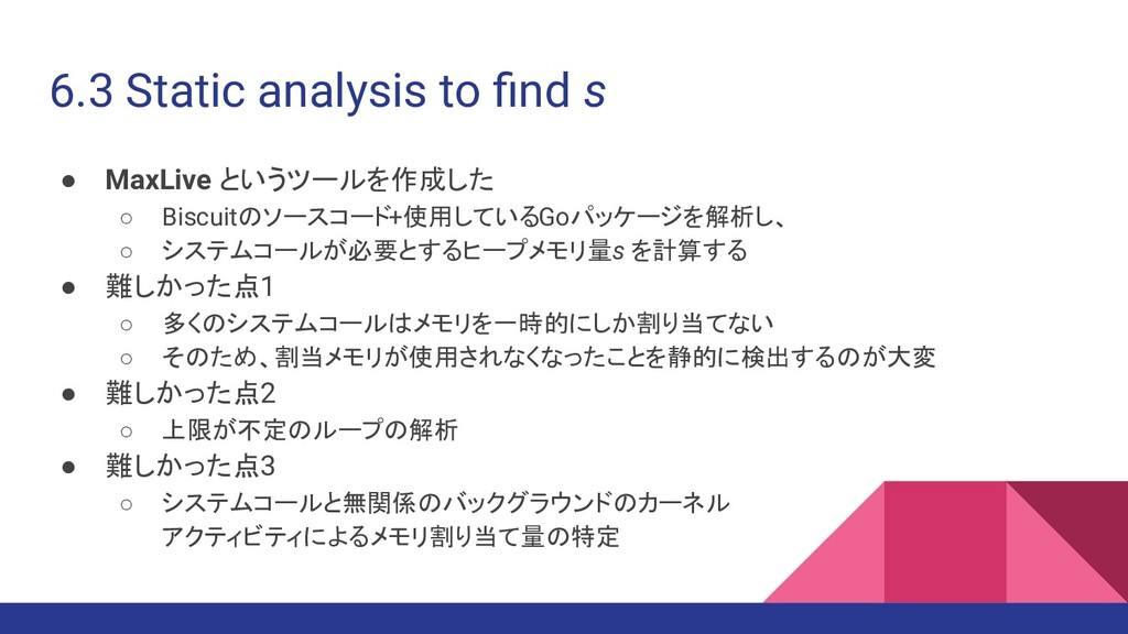 6.3 Static analysis to find s ● MaxLive というツールを作...