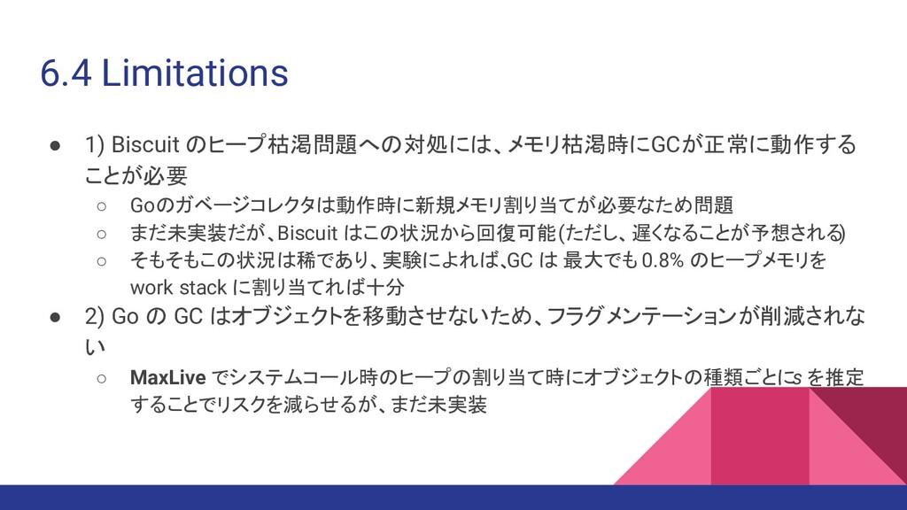 6.4 Limitations ● 1) Biscuit のヒープ枯渇問題への対処には、メモリ...