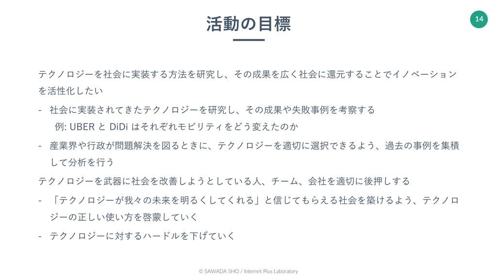 © SAWADA SHO / Internet Plus Laboratory 14 活動の⽬...