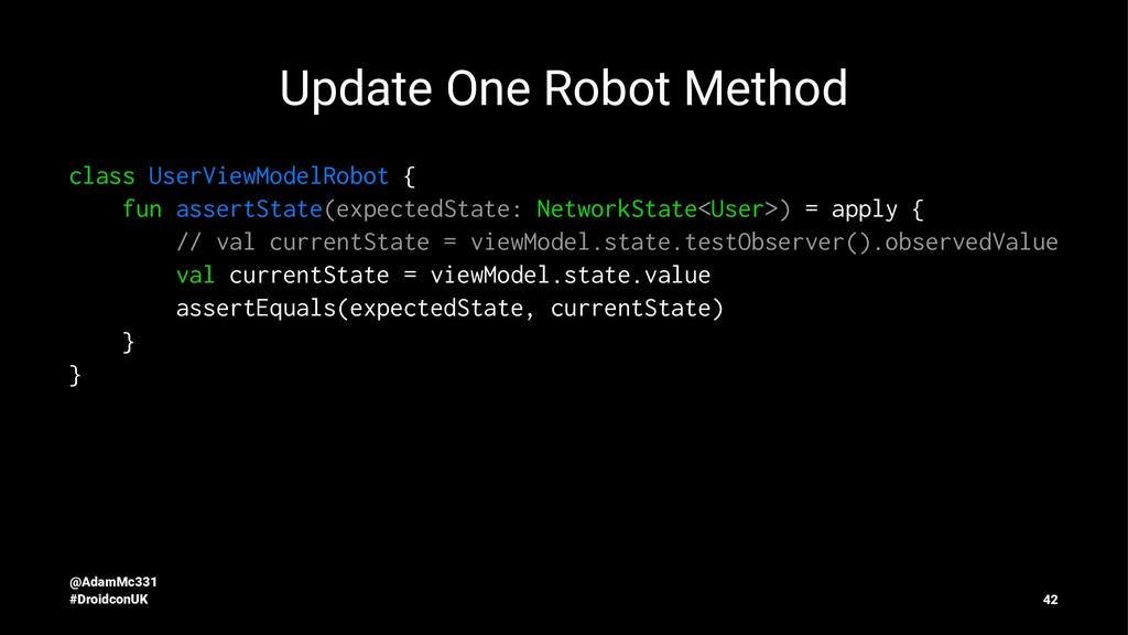 Update One Robot Method class UserViewModelRobo...