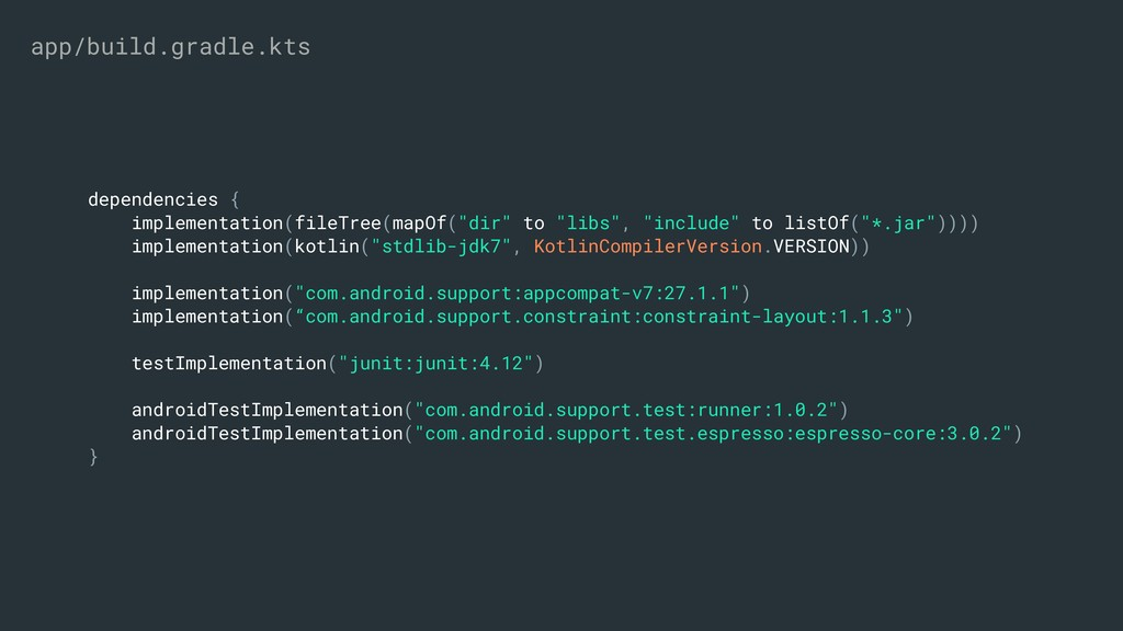 "dependencies { implementation(fileTree(mapOf(""d..."
