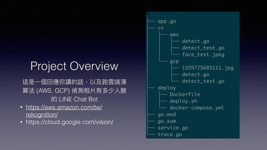 Project Overview 這是⼀一個回應你講的話,以及跑雲端演 算法 (AWS, GC...