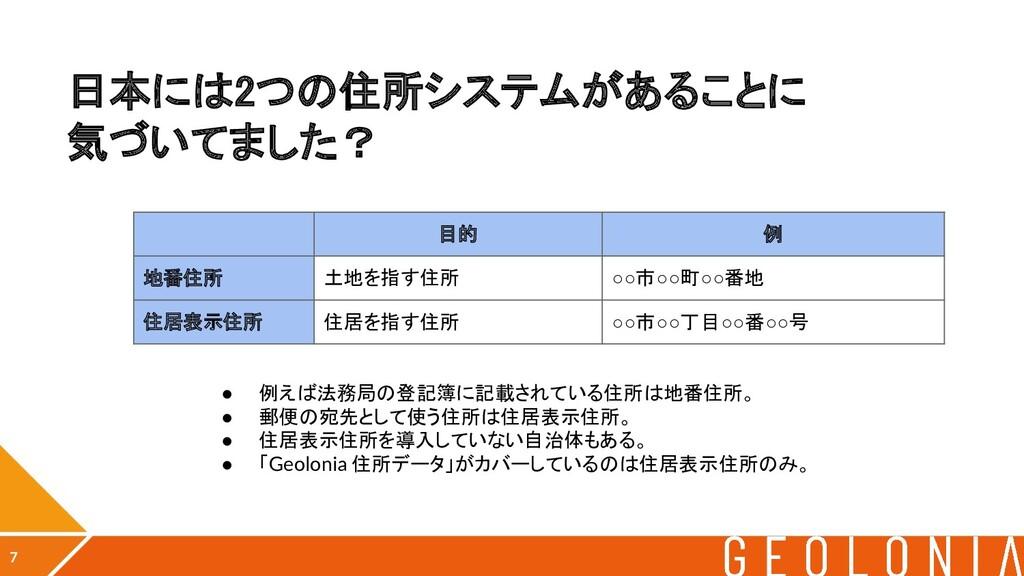 日本には2つの住所システムがあることに 気づいてました? 7 目的 例 地番住所 土地を指...