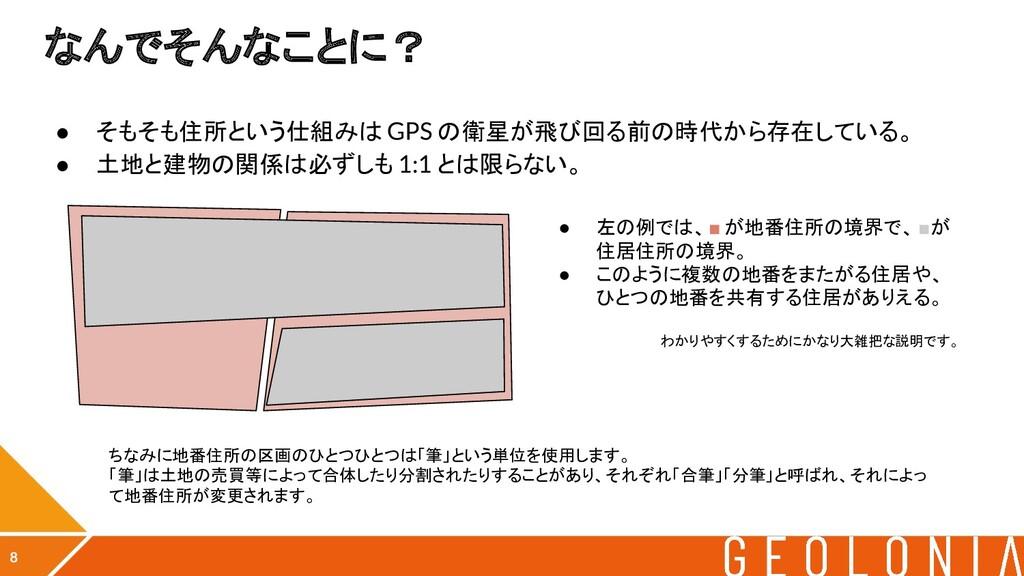 なんでそんなことに? ● そもそも住所という仕組みは GPS の衛星が飛び回る前の時代から存在...
