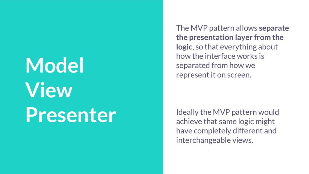 Talk Schedule Model View Presenter The MVP patt...