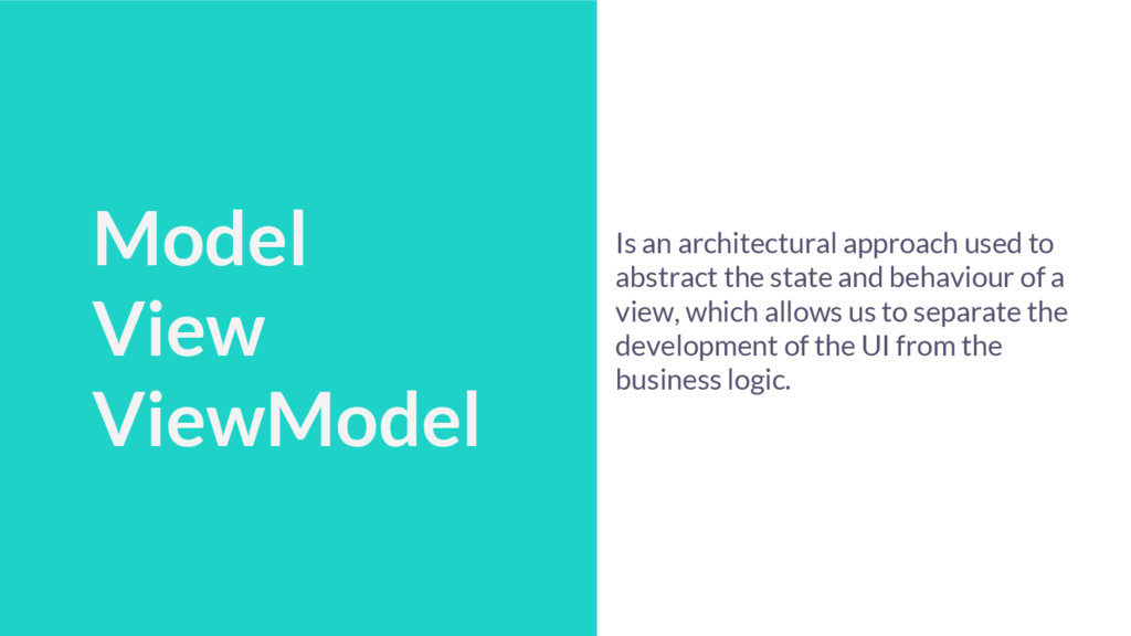 Talk Schedule Model View ViewModel Is an archit...