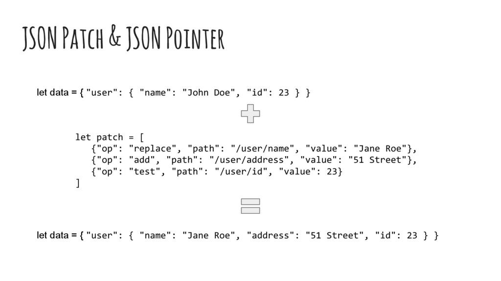 """JSON Patch & JSON Pointer let patch = [ {""""op"""": ..."""