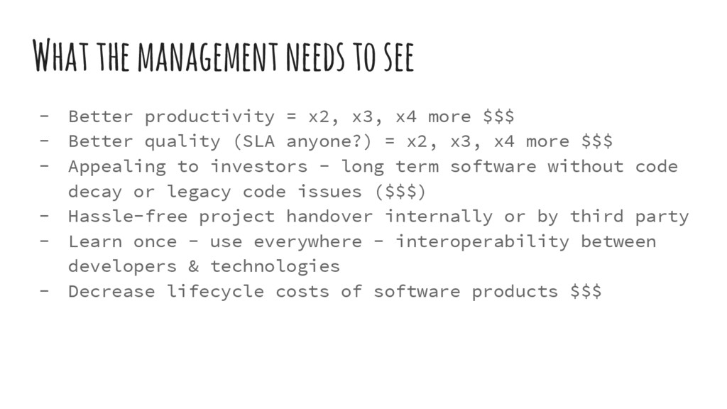 What the management needs to see - Better produ...