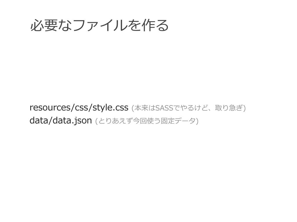 必要なファイルを作る resources/css/style.css (本来はSASSでやる...