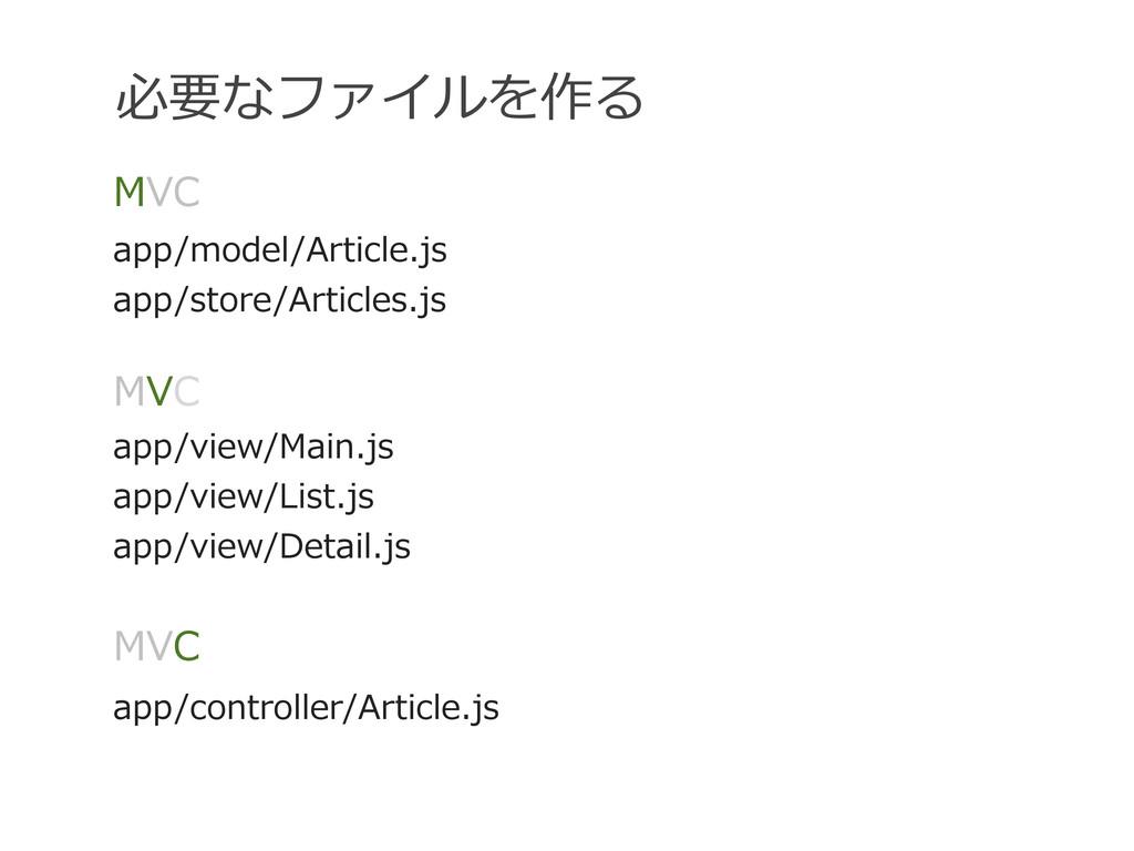 必要なファイルを作る MVC app/model/Article.js app/store/A...