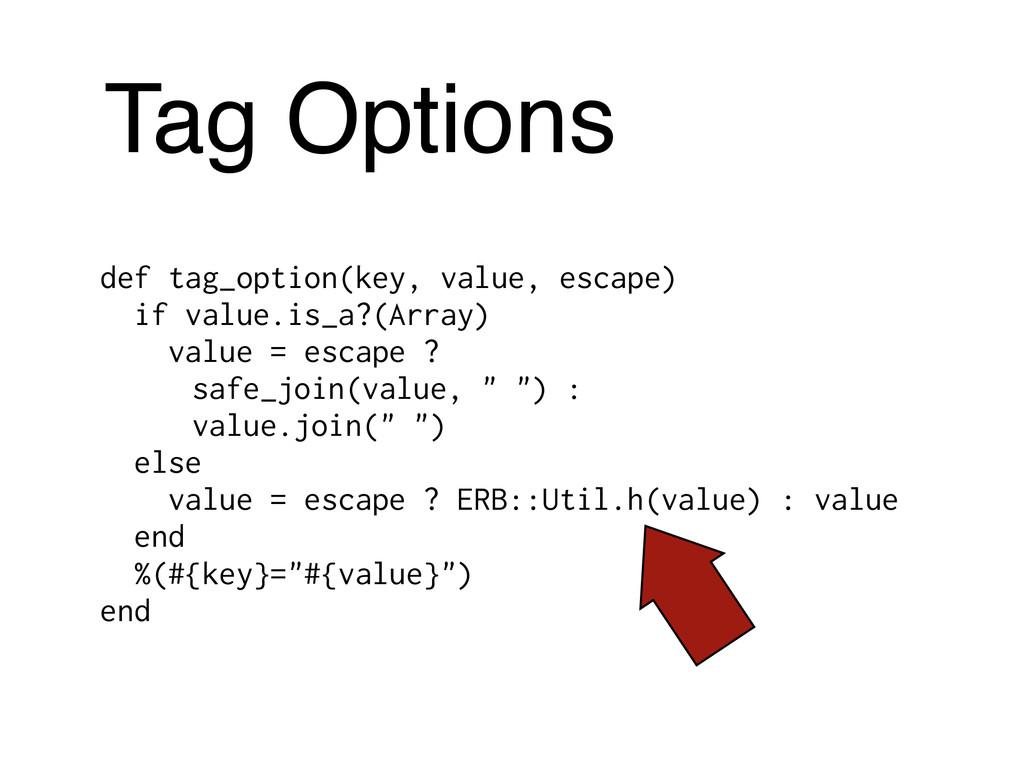 Tag Options def tag_option(key, value, escape) ...