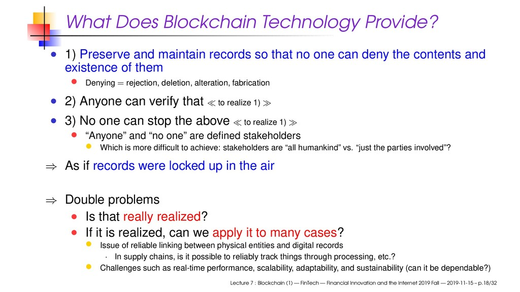 What Does Blockchain Technology Provide? 1) Pre...